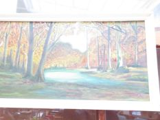 An Oil on Board River and Forrest Scene