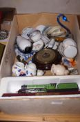 A box of ceramics to include 2 model trains