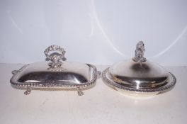 2 Silver plated serving dishes