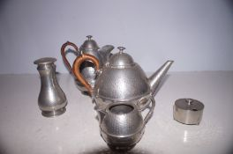 Hammered pewter service