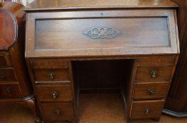 Oak twin Pedi stool Writing Bureau