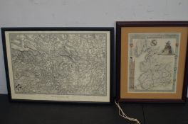 Early Map of Bolton together with a map of Lancash