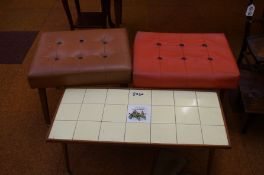 2x retro foot stools and a retro tile top coffee t