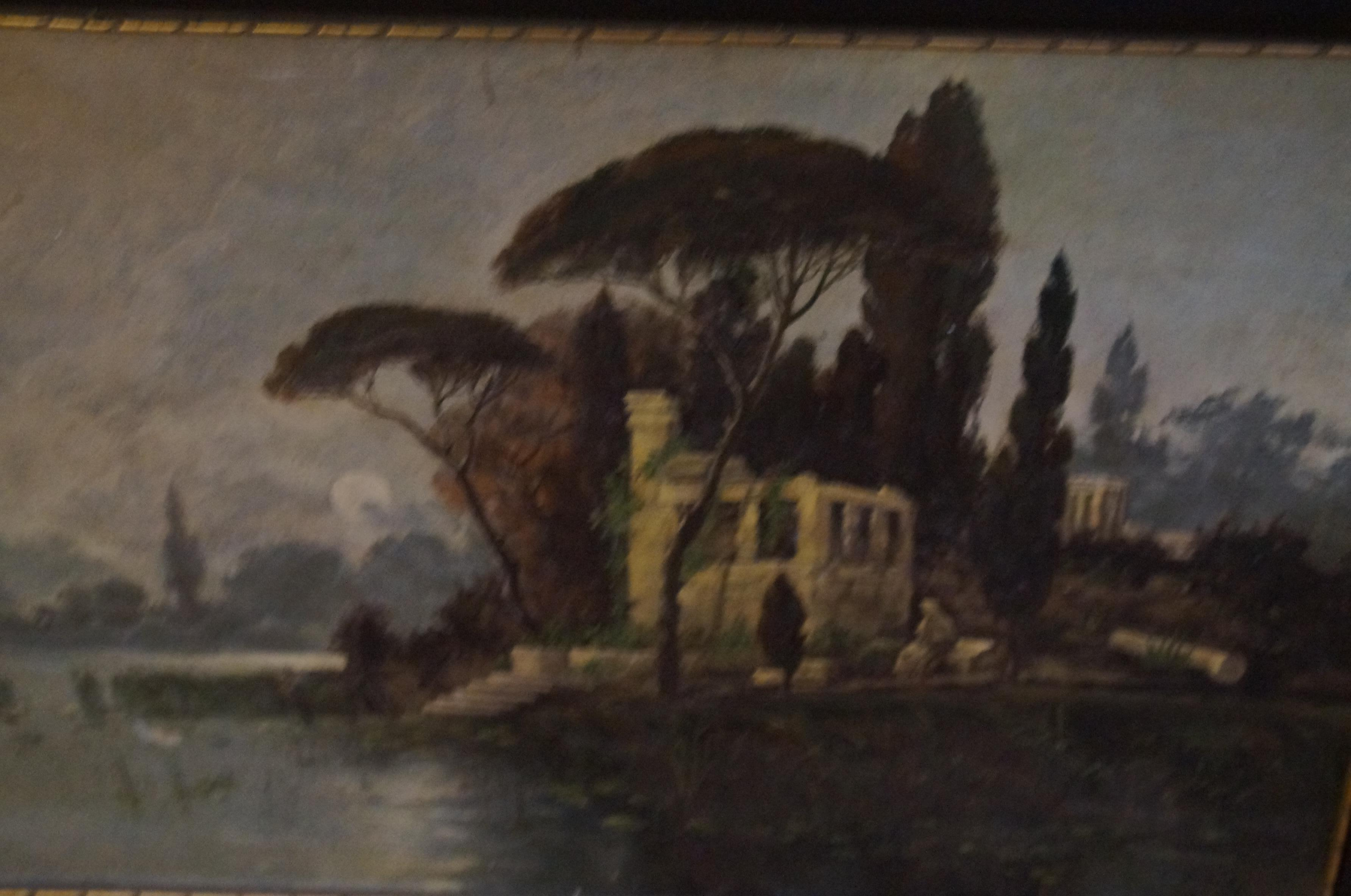 Oil onboard lake with ruins 42cm x 63cm
