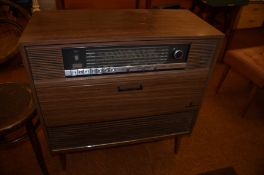A Grundig teak radiogram, case with a concealed re