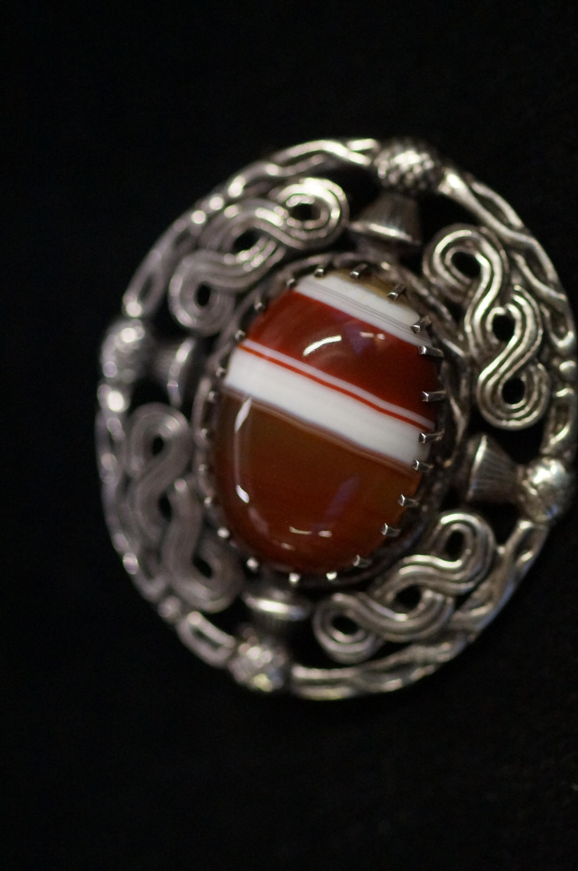 Silver Scottish Brooch with Hard Stone