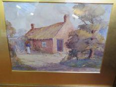 Framed Water Colour Farm House Scene Signed H Heal