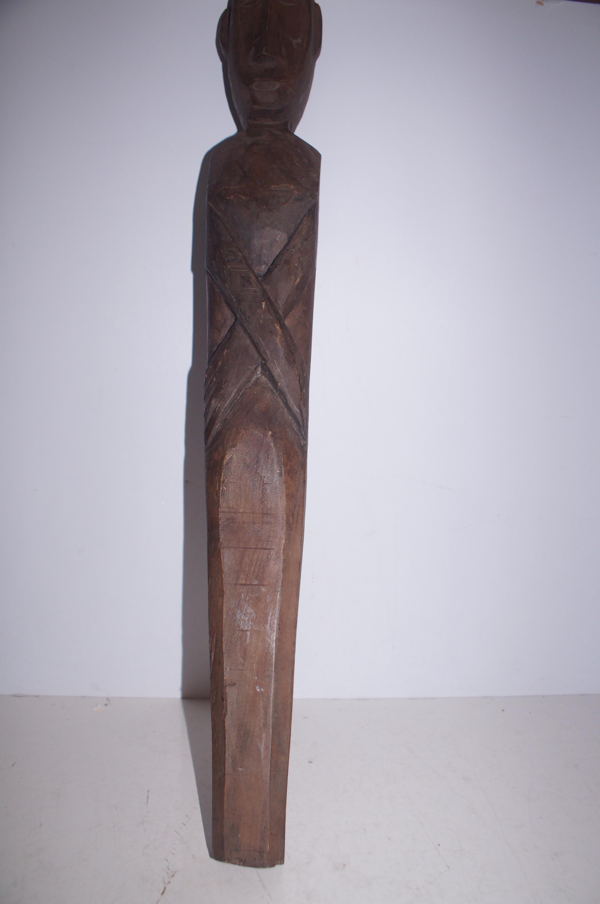 Wooden Tribal Fertility Figure 74cm