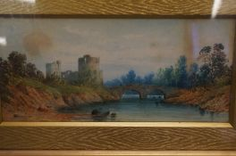 Framed Picture of Castle and Bridge Watercolour 52