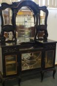 Late Victorian mirrored display sideboard with fre