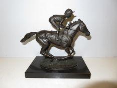 Bronze Model Jockey Titled Champion Finish by Davi