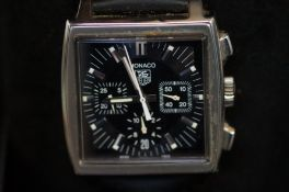 Tag Heuer Monaco chronograph wristwatch with box,