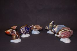 6x Royal Crown Derby tropical fish paperweights