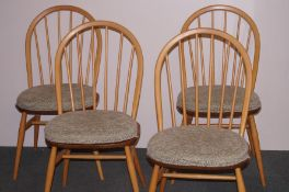 Blond Ercol 4x stick back chairs - in excellent co