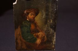A miniature portrait of a seated man in a turban.