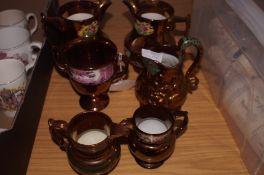6x Ceramic copper lustre