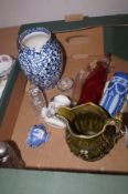 Box of glass and ceramics to include WH Goss - Co