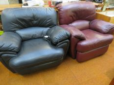2x Leather Electric Reclining Chair