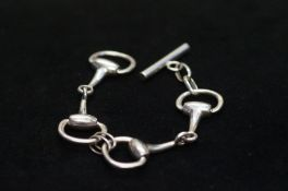 Silver horses mouth bit bracelet