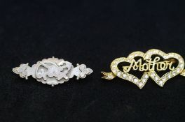 2 Silver pin brooches