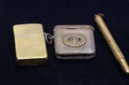 Brass Zippo lighter, Brass vesta case and Crawford