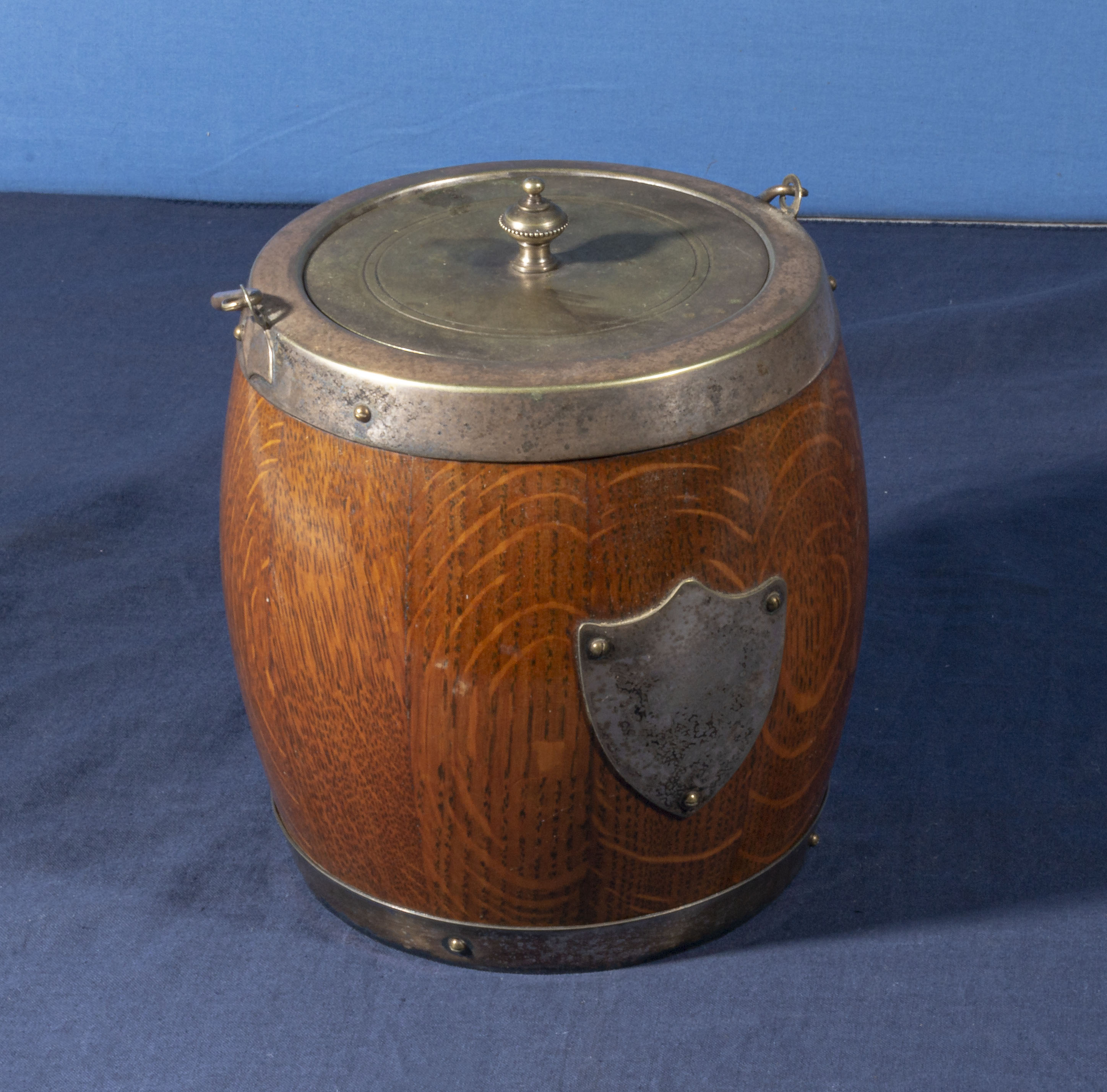 Lot 2 - A silver plated wooden biscuit barrel