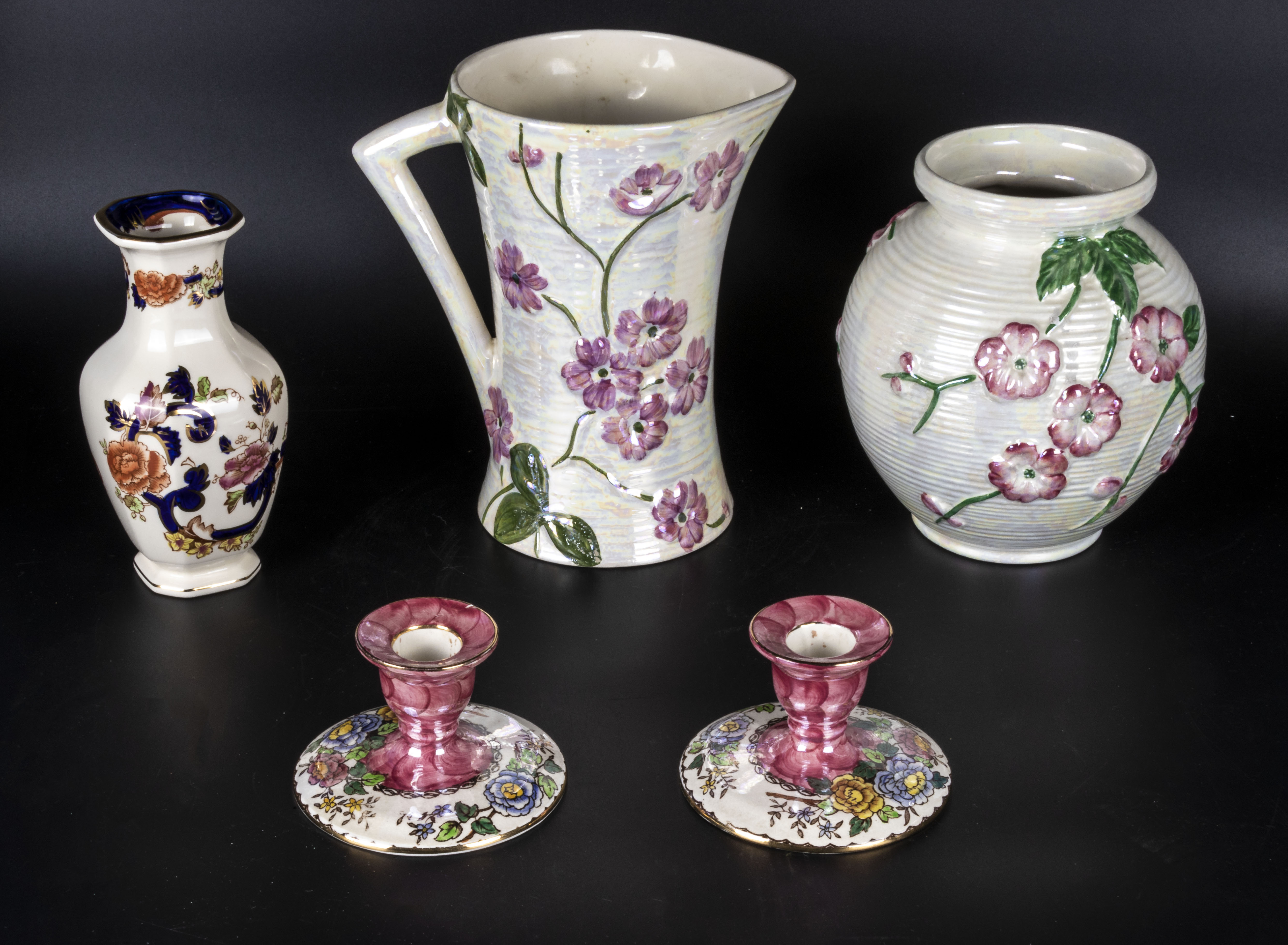 Lot 7 - Four pieces of Maling Ware and a Mason's vase
