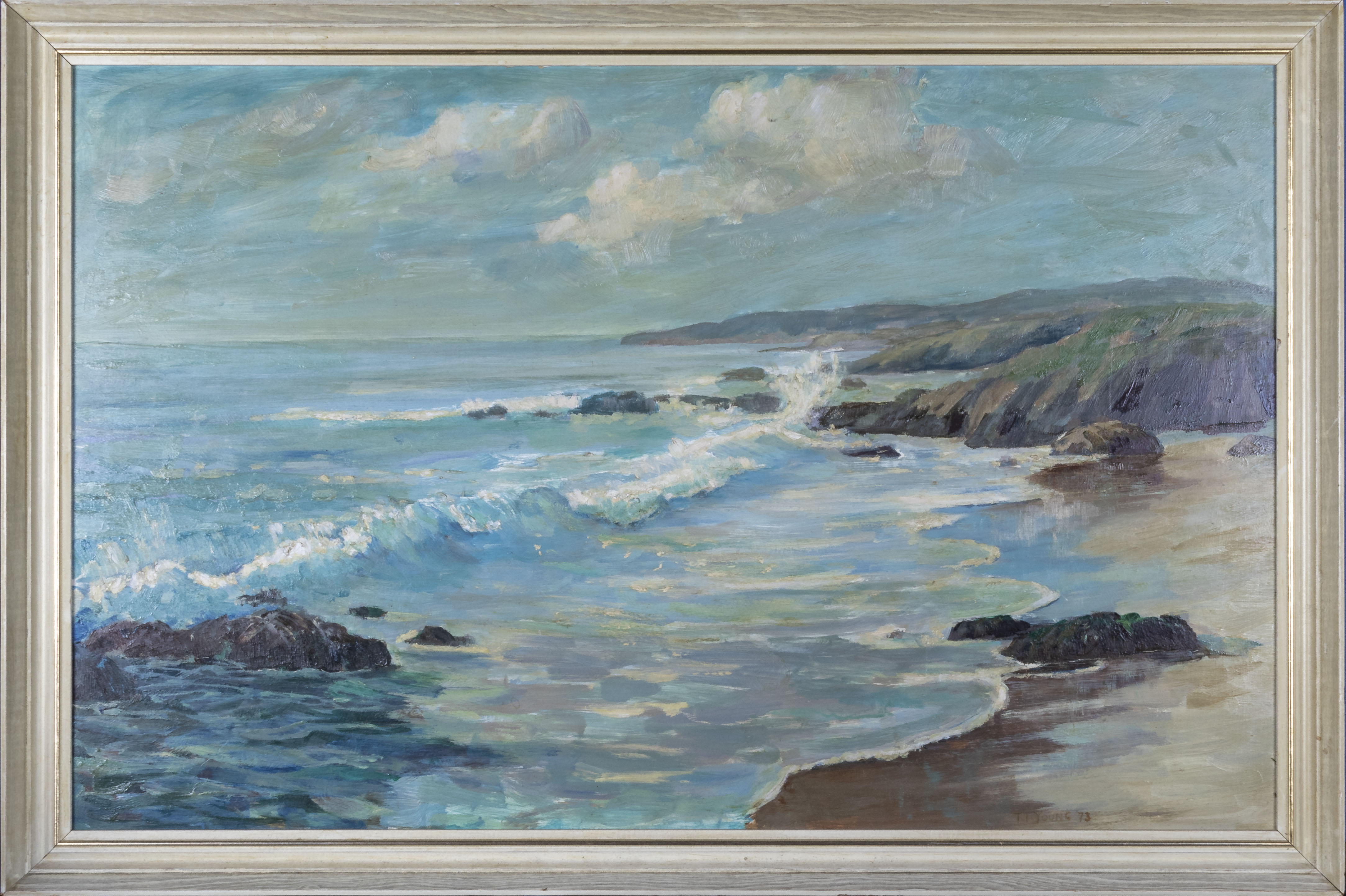 Lot 14 - A large framed oil on board depicting a seascape, total size 51cm x 77cm