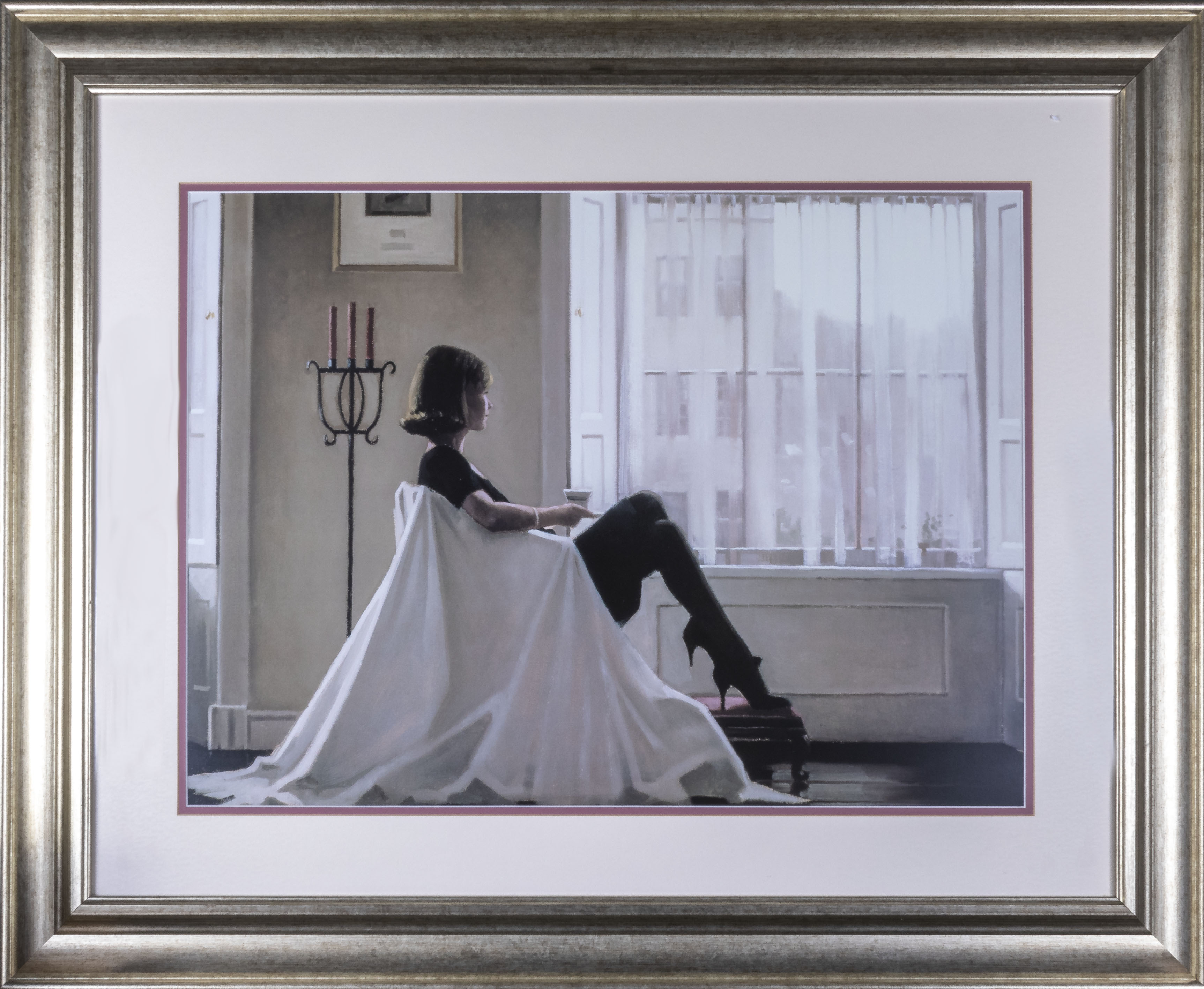 Lot 16 - In Thoughts of You, framed art print by Jack Vettriano, total size 75cm x 92cm