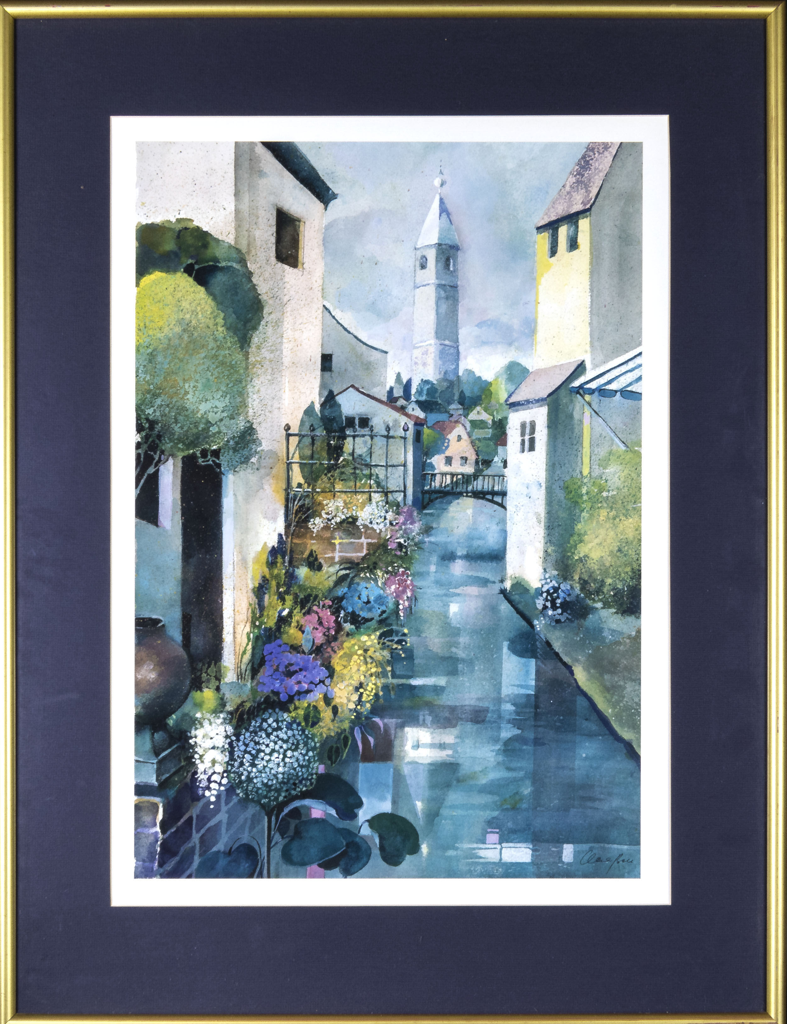 Lot 12 - Two large framed prints of street scenes total size 82cm x 62cm and 778cm x 25cm