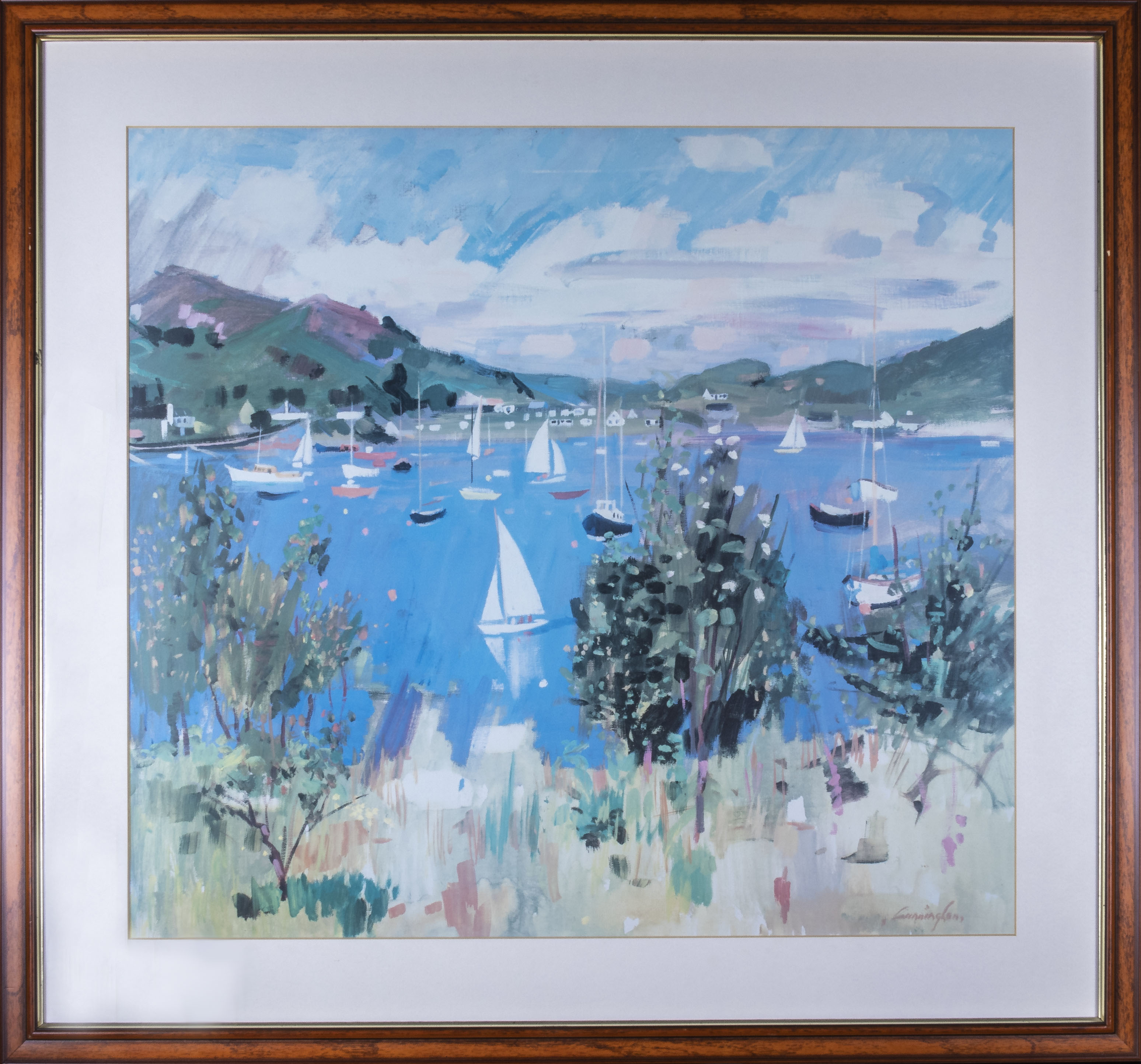 Lot 18 - Three framed John Cunningham prints, Corrie, Holy Isle and Boats at Tayvallich, total size 73cm x