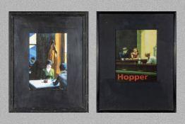 Two framed Edward Hopper prints 32cm x 48cm and 44cm x 35cm