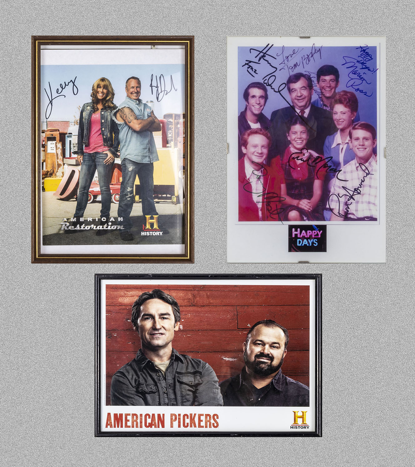 Two framed autographed photographs, Happy Days and American Restoration together with American