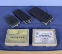 Camera vintage tin plate back assorted slides in black velvet purses various sizes with 2 card boxes