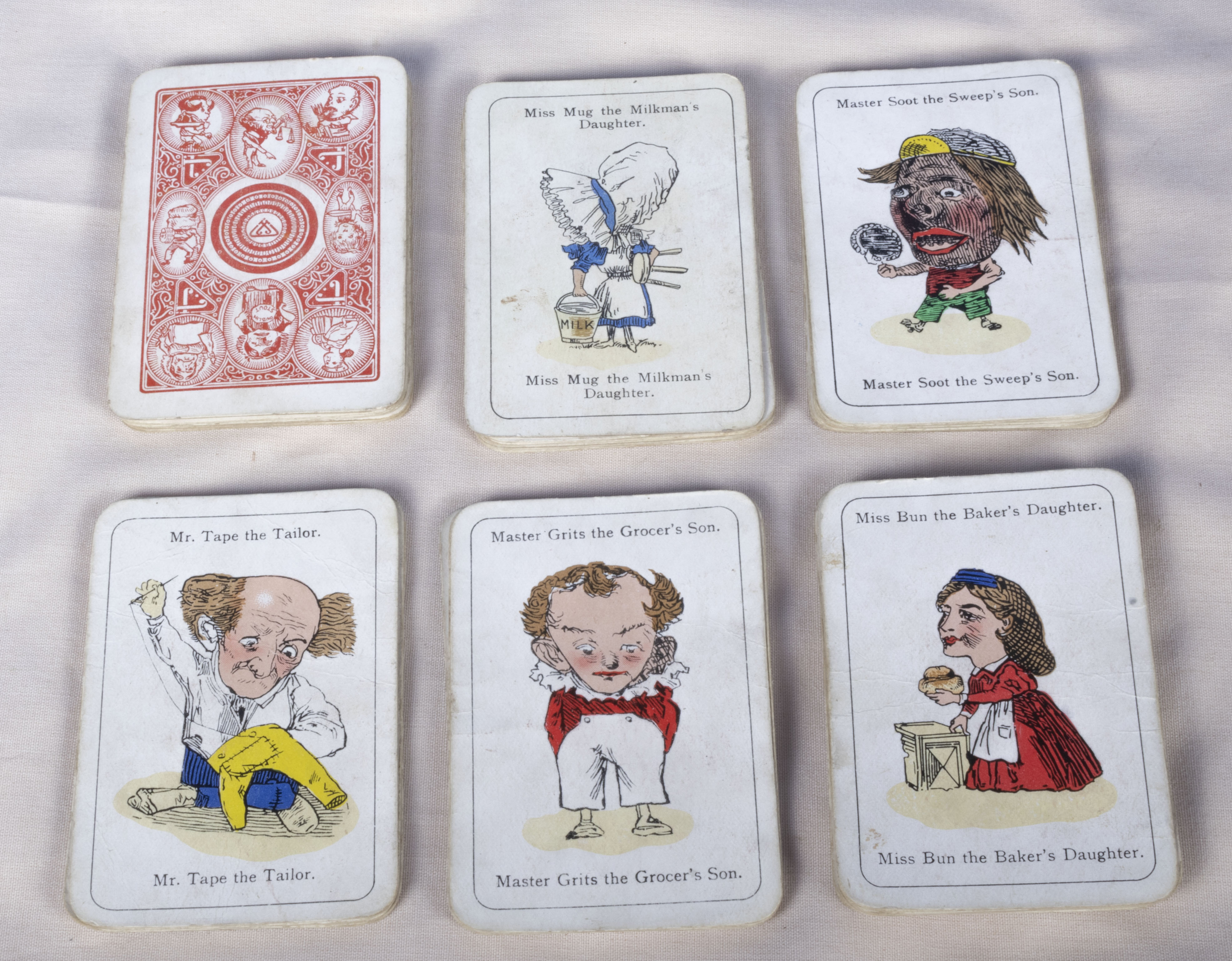 Set 49 vintage comical playing cards various characters, Master Mug the Milkman's son/Mrs Bun the