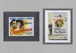 Tw framed advertising prints 'Casablanca' 38cm x 45cm and 'The Birds' 34cm x 44cm