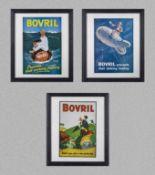 Three framed Bovril advertising prints 28cm x 33cm