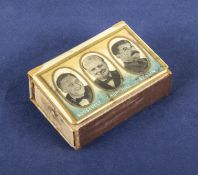 WWII match box case holder ,depicting Churchill, Stalin and Roosevelt
