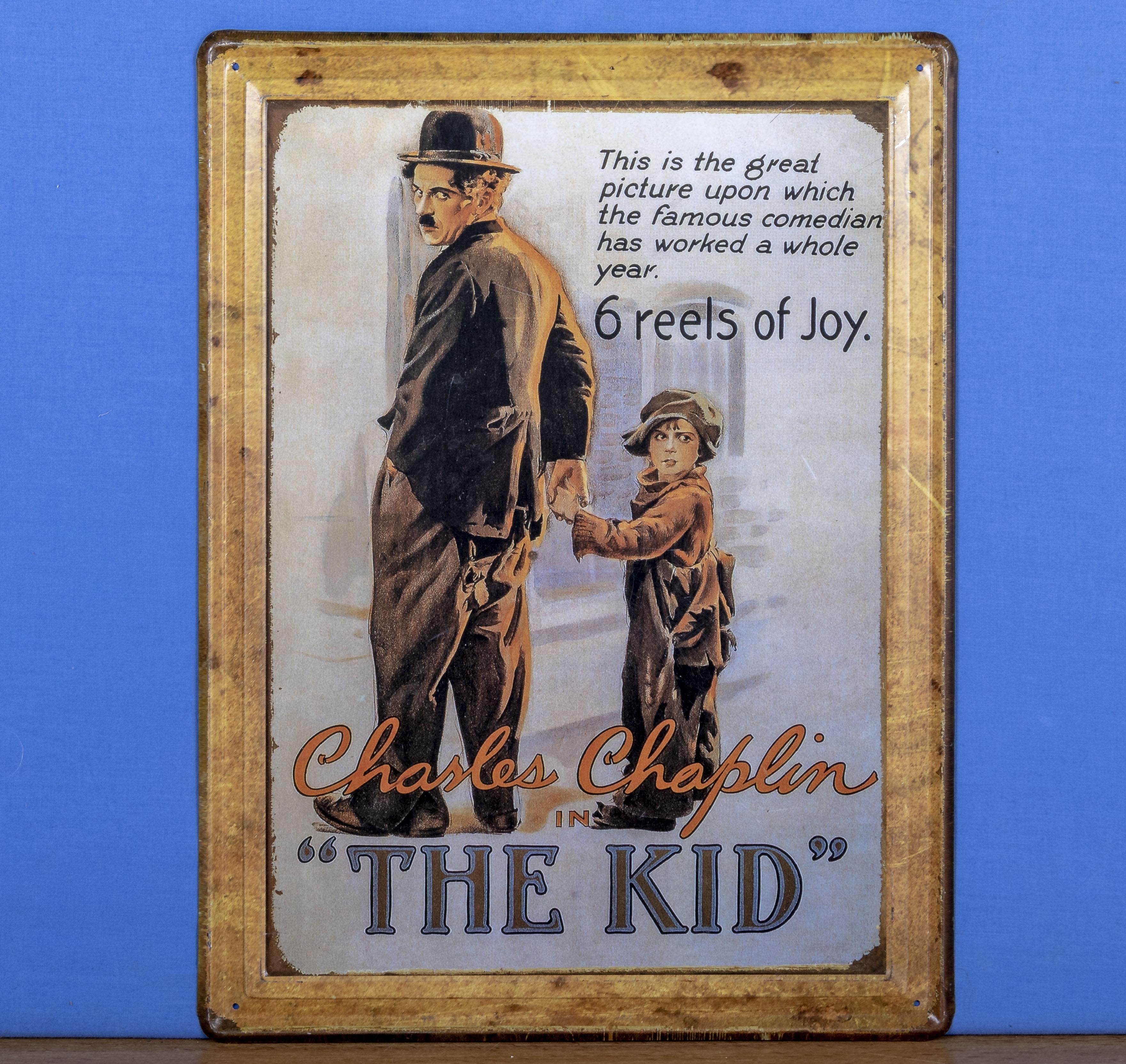 A tin advertising sign Charles Chaplin The Kid