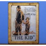 A tin advertising sign Charles Chaplin The Kid