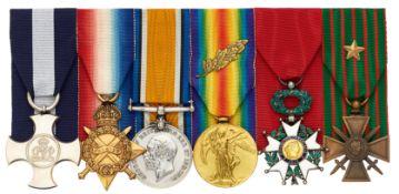 WW1 Royal Navy DSC, French Legion D'Honneur, Croix de Guerre Group of Six Medals.
