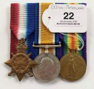 WW1 1/4th Lincolnshire Regiment Group of Three Medals.