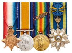 WW1 1st Bn King's Liverpool Regiment Officer's Order of the Egyptian Nile Group of Four Medals.