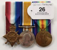 WW1 6th Dragoon Guards / Machine Gun Guards Casualty Group of Three Medals.