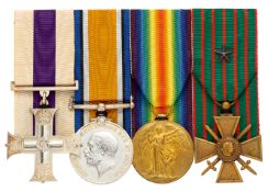 WW1 11th Bn Essex Regiment Military Cross, French Croix de Guerre Group of Four Medals.