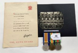 WW1 Welsh Regiment / WW2 Monmouthshire Home Guard Officer's Group of Three Medals & Ephemera.