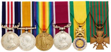 WW1 7th Bn Cheshire Regiment Triple Gallantry Military Medal Group of Six.