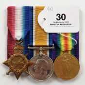 WW1 Royal Navy HMS Abourkir 1914 Casualty Group of Three Medals.