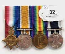 WW1 Royal Marine Band Long Service Group of Four Medals.