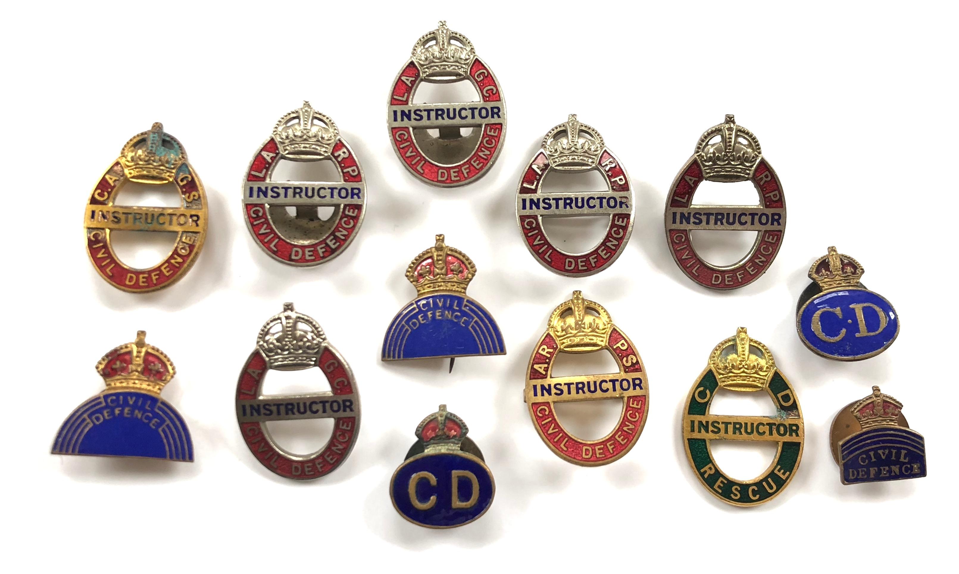 WW2 / Cold War Civil Defence Badges & Instructor Badges.